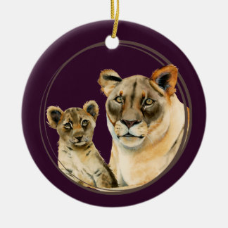 Motherhood | Lioness and Cub Watercolor Painting Ceramic Ornament