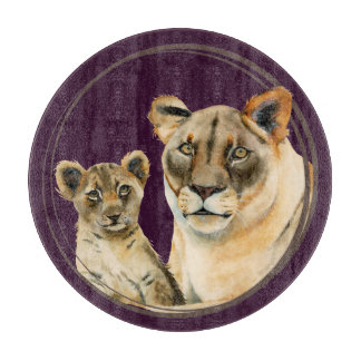 Motherhood   Lioness and Cub Watercolor Painting Cutting Board