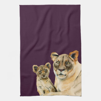 Motherhood   Lioness and Cub Watercolor Painting Kitchen Towel