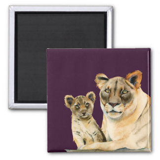 Motherhood | Lioness and Cub Watercolor Painting Magnet
