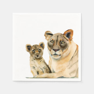 Motherhood | Lioness and Cub Watercolor Painting Napkin