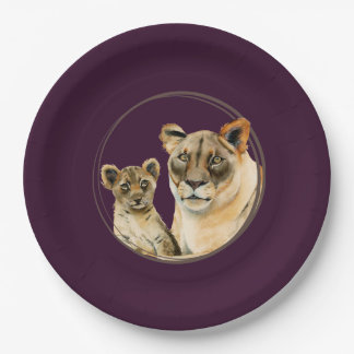 Motherhood   Lioness and Cub Watercolor Painting Paper Plate