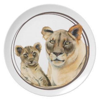 Motherhood   Lioness and Cub Watercolor Painting Plate