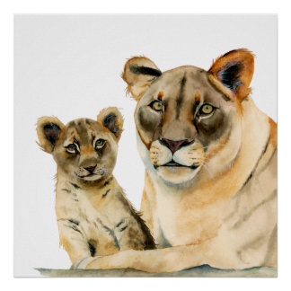 Motherhood | Lioness and Cub Watercolor Painting Poster