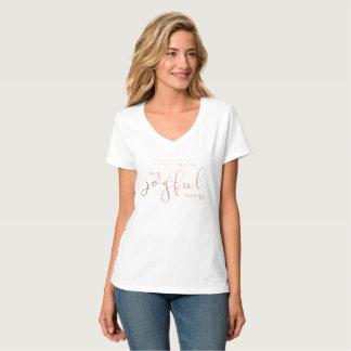 Motherhood My Joyful Mess T Shirt Rose Gold White