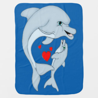 Motherly Dolphin Love Baby Blanket