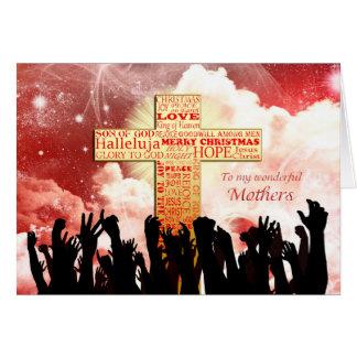 Mothers, a Christian cross Christmas Card