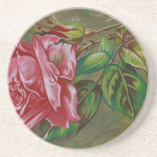 Mother's Dar Rose Flower Coasters