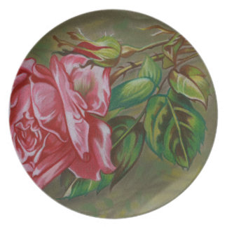 Mother's Dar Rose Flower Dinner Plates