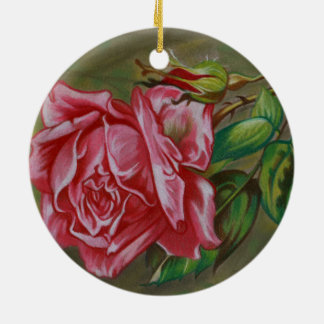 Mother's Dar Rose Flower Round Ceramic Ornament