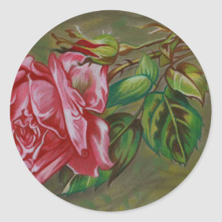 Mother's Dar Rose Flower Round Sticker