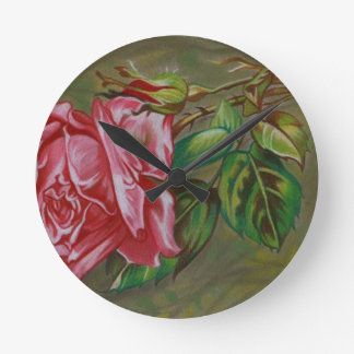 Mother's Dar Rose Flower Wall Clock