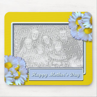 Mothers Day ADD YOUR PHOTO Blue Daisies Mouse Pad