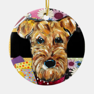 MOTHERS DAY AIREDALE ROUND CERAMIC ORNAMENT