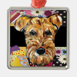 MOTHERS DAY AIREDALE Silver-Colored SQUARE ORNAMENT