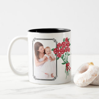 Mother's Day Bouquet of Red Roses Two-Tone Coffee Mug