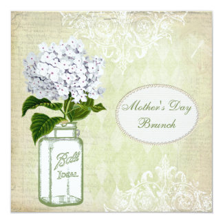 "Mother's Day Brunch Chic Mason Jar & Hydrangea 5.25"" Square Invitation Card"