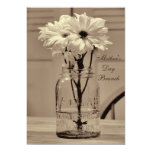 Mother's Day Brunch Sepia Mason Jar & Daisies