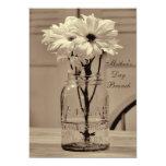 "Mother's Day Brunch Sepia Mason Jar & Daisies 5"" X 7"" Invitation Card"