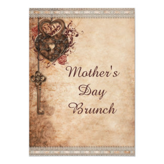 """Mother's Day Brunch Vintage Hearts Lock and Key 5"""" X 7"""" Invitation Card"""