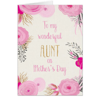 Mother's Day Card for Aunt - Pretty Pink Flowers