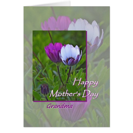Mother's Day card, for Grandma, purple flowers Card