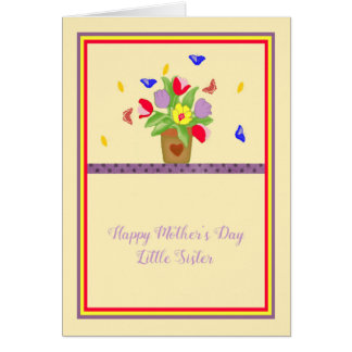 Mother's Day Card for Little Sister, Flower Pot