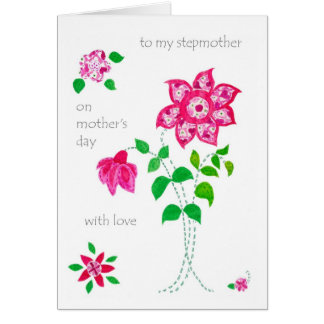 Mother's Day Card for Stepmother - Pink Flowers
