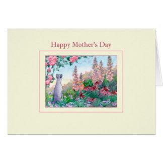 Mother's Day card, Greyhound dog in flower garden Card