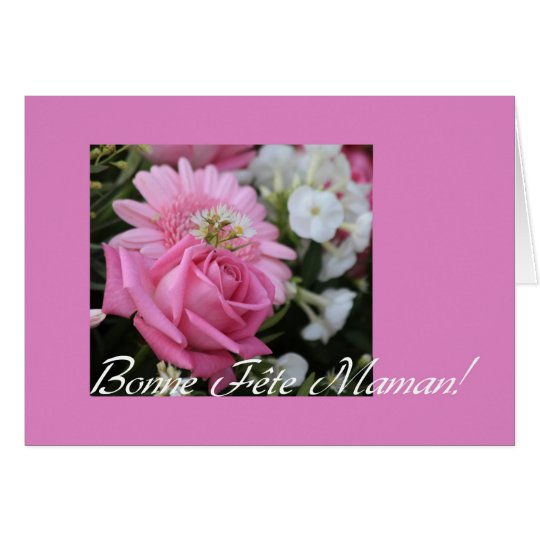 mother's day card pink rose french