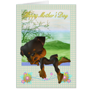 Mother's Day Card, with little Rottweiler dog Card