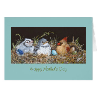 Mother's Day card with many birds in nest
