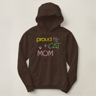 Mother's Day Cat Embroidered Embroidered Hooded Sweatshirt