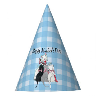 Mothers Day Cat With Her Three Kittens on Plaid Party Hat