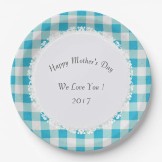 Mother's-Day-Celebrate--Blue-Buffalo-Check_Lace Paper Plate