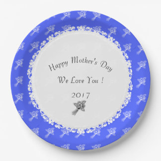 Mother's-Day-Celebrate--Template_Blue-Silver-Roses Paper Plate