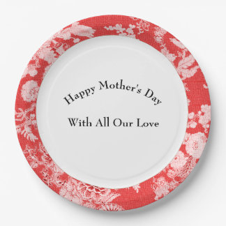 Mother's-Day-Celebration-Antique-Red-Birds--Floral 9 Inch Paper Plate