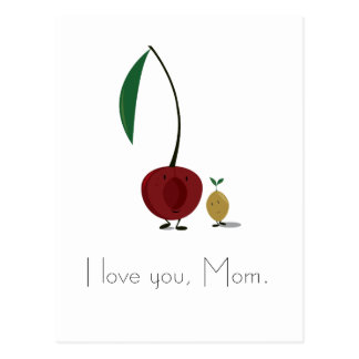 Mother's Day cherry and cherry pit characters Postcard