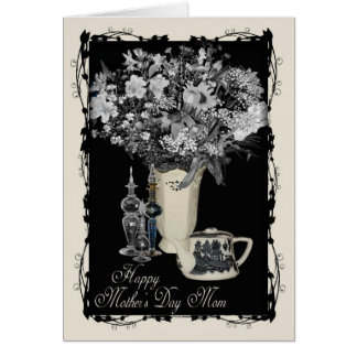 Mother's Day - Cream and Black Floral Greeting Card