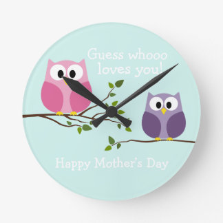 Mothers Day - Cute Owls Clocks