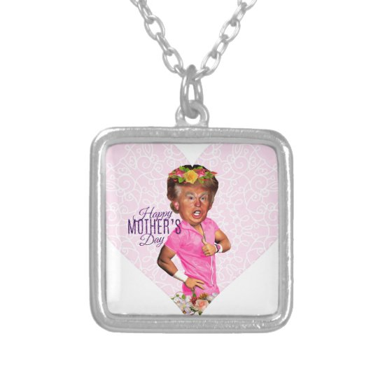 mothers day donald trump silver plated necklace