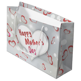 Mother's Day Folded Paper Heart - Large Gift Bag