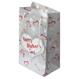 Mother's Day Folded Paper Heart - Small Gift Tag Small Gift Bag