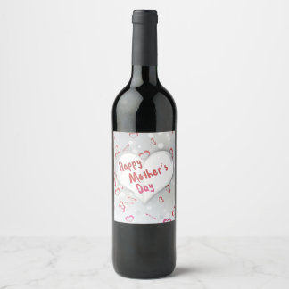 Mother's Day Folded Paper Heart Wine Bottle Label
