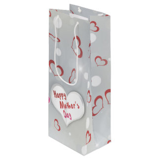 Mother's Day Folded Paper Heart - Wine Gift Tag Wine Gift Bag