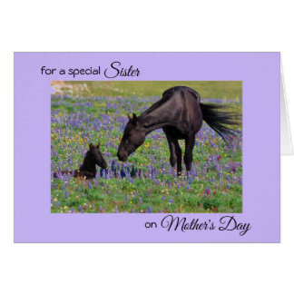 Mother's Day for Sister Mare Foal Flowers Photo Card