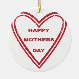 Mothers Day Heart Round Ceramic Ornament