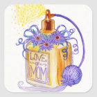 Mother's Day Love of Mom Perfume Bottle Square Sticker