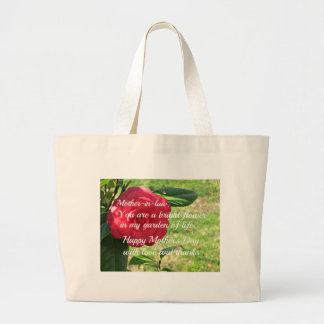 Mother's day message for Mother-in-law. Large Tote Bag