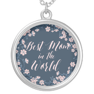 Mothers Day Necklace Best Mom Large Blue